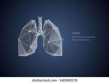 Lungs. Polygonal wireframe composition. Banner concept, the treatment of of lung diseases. Abstract illustration isolated on dark background.  Particles are connected in a geometric silhouette.