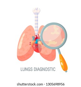 Lungs research or diagnotic concept. Vector illustration in flat style. Human lungs and magnifying glass