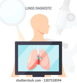 Lungs research or diagnotic concept. Vector illustration in flat style. Template for web banners, advertising, posters, infographics etc.