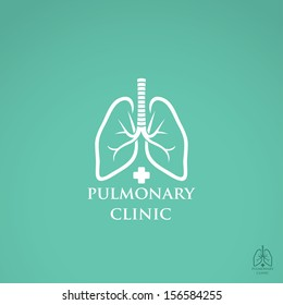 Lungs sign - hospital label - vector illustration