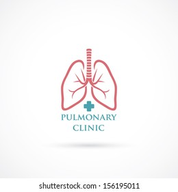 Lungs symbol, clinic label - vector illustration