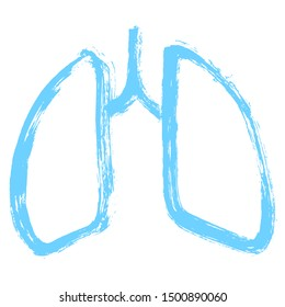 Lungs symbol. Hand drawn grunge design. Breathing. Lunge exercise. Lung cancer (asthma, tuberculosis, pneumonia). Respiratory system. World Tuberculosis Day. World Pneumonia Day. Health care