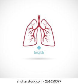 Lungs symbol, on a white background, health.