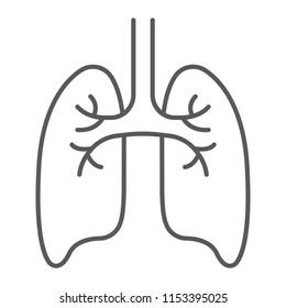 Lungs thin line icon, anatomy and biology, pulmonology sign, vector graphics, a linear pattern on a white background, eps 10.