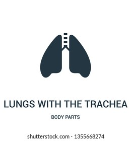 lungs with the trachea icon vector from body parts collection. Thin line lungs with the trachea outline icon vector illustration. Linear symbol for use on web and mobile apps, logo, print media.