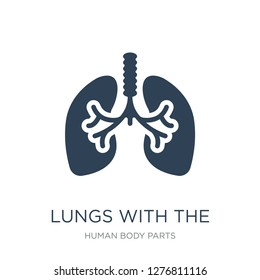 lungs with the trachea icon vector on white background, lungs with the trachea trendy filled icons from Human body parts collection, lungs with the trachea vector illustration
