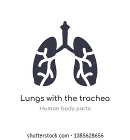 lungs with the trachea outline icon. isolated line vector illustration from human body parts collection. editable thin stroke lungs with the trachea icon on white background