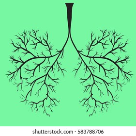 lungs as tree branches, green background vector