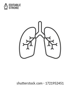 Lungs vector icon. Lungs of a healthy person. Vector outline icon with editable stroke