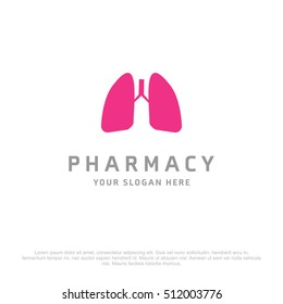 Lungs vector logo for Pharmacy on a white background