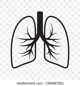 Lungs vector outline icon. Cold cough and bronchitis lung disease treatment