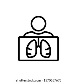 Lungs X Ray Body Icon Outline Vector