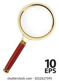 Lupe. Magnifying Glass on white. Vector 3d illustration