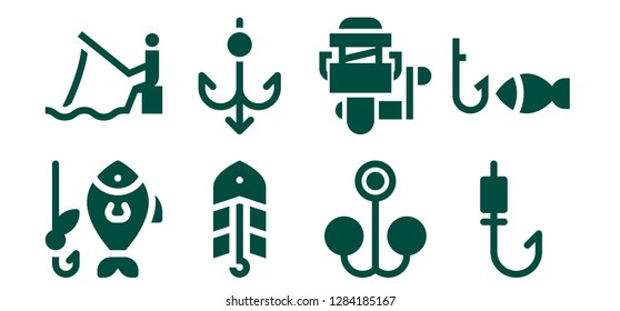 lure icon set. 8 filled lure icons. Simple modern icons about  - Fishing, Bait, Hook, Fishing reel, Fishing rod