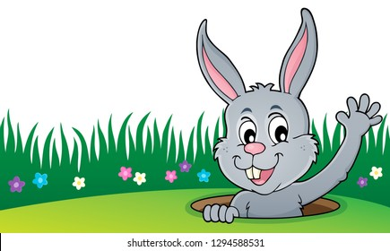 Lurking Easter bunny topic image - eps10 vector illustration.
