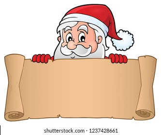Lurking Santa Claus holding parchment 3 - eps10 vector illustration.