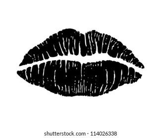 Luscious Lips - Retro Clipart Illustration