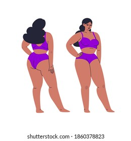Lush beautiful woman in full growth underwear, front and back views. A young girl with big breasts poses, demonstrates a separate swimsuit. Vector stock isolated illustration in cartoon style.