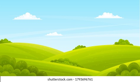 Lush light green lawn, field, hills, green deciduous bushes. Countryside, spring or summer time of year. Blue clear sky. Cartoon design for banners, sites. Flat vector image of beauty landscape
