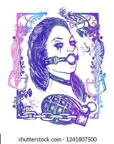 Lust. Seven deadly sins tattoo and t-shirt design. Sexy woman, symbol of fornication, debauchery, sexual perversions, BDSM