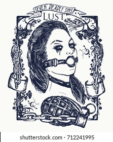 Lust. Seven deadly sins tattoo and t-shirt design. Sexy woman, symbol of fornication, debauchery, sexual perversions