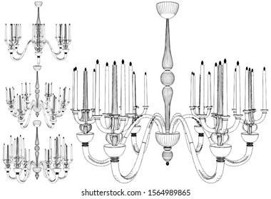 Luster Chandelier With Candles Vector 58. Illustration Isolated On White Background. A Vector Illustration Of Luster Chandelier.