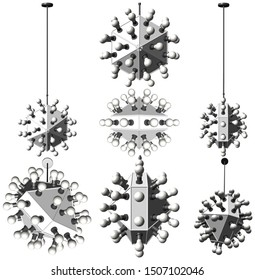 Luster Chandelier With Light Bulbs Vector 56. Illustration Isolated On White Background. A Vector Illustration Of Luster Chandelier.