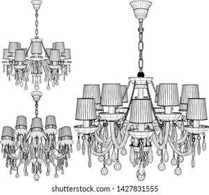 Luster Chandelier Vector 55. Illustration Isolated On White Background. A vector illustration Of A Chandelier.