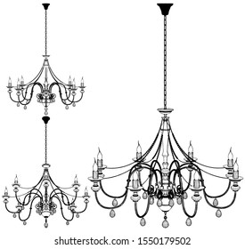 Luster Chandelier Vector 57. Illustration Isolated On White Background. A Vector Illustration Of Luster Chandelier.