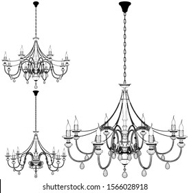 Luster Chandelier Vector 59. Illustration Isolated On White Background. A Vector Illustration Of Luster Chandelier.