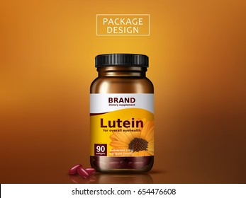 lutein dietary supplement package design, isolated golden background, 3d illustration