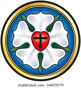 Luther Rose. Colorized illustration of the Luther seal, a symbol for Lutheranism. A black cross in a red heart as symbol of Holy Trinity, a white rose in a sky-blue field and around a golden ring.