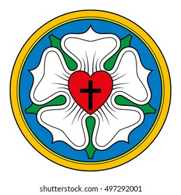 Luther rose  or seal, symbol of Lutheranism, as an expression of the theology and faith of Martin Luther. Black cross in red heart, a white rose in sky-blue field and a orange ring.