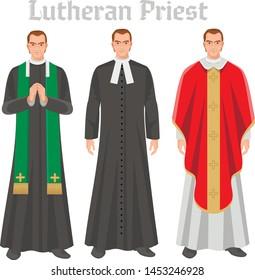 Lutheran priest in vestment, flat illustration