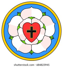 Lutheran Rose Emblem (Luther Seal). A widely-recognized symbol for Lutheranism. This rose is being used in many blazons.