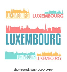 Luxembourg City Flat Icon Skyline Vector Silhouette Design Set