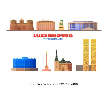 Luxembourg city landmarks in white background. Vector Illustration. Business travel and tourism concept with old buildings