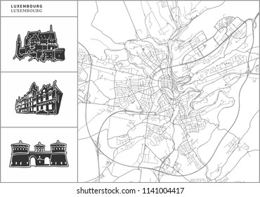 Luxembourg city map with hand-drawn architecture icons. All drawigns, map and background separated for easy color change. Easy repositioning in vector version.