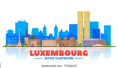 Luxembourg city skyline with panorama on sky background. Vector Illustration. Business travel and tourism concept with old buildings. Image for presentation, banner, web site.