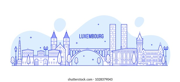 Luxembourg city skyline. This illustration represents the city with its most notable buildings. Vector is fully editable, every object is holistic and movable