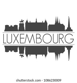 Luxembourg City Skyline Vector Art Mirror Silhouette Emblematic Buildings