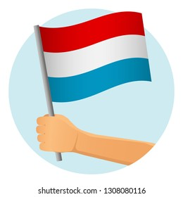 luxembourg flag in hand. Patriotic background. National flag of luxembourg vector illustration
