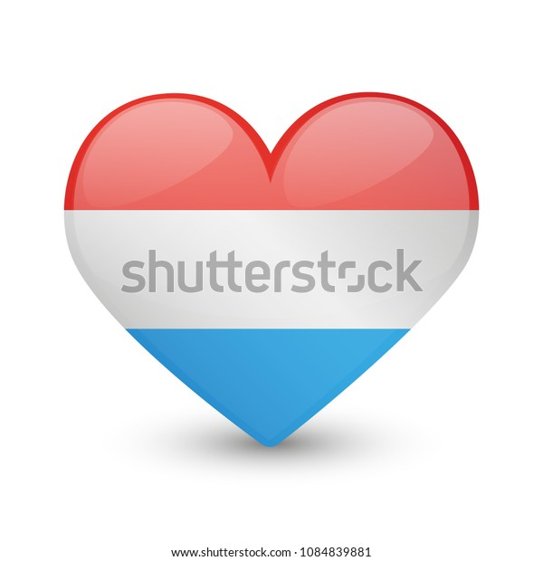 Luxembourg Flag Heart Love Emoji Icon Object Symbol Gradient Vector Art Design Cartoon Isolated