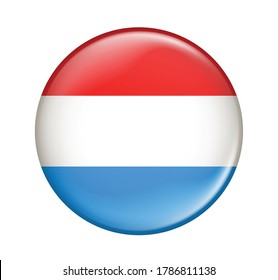 Luxembourg flag icon isolated on white background.Luxembourg flag.Flag icon glossy.