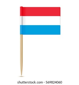 Luxembourg flag toothpick on white background 10eps