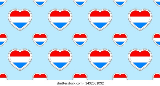 Luxembourg flags background. Vector stickers. Love hearts symbols. Grand Duchy of Luxembourg flag seamless pattern. Good choice for travel, geographic, elements. patriotic wallpaper.