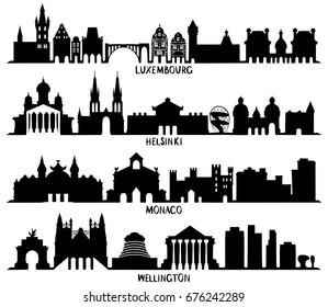 Luxembourg, Helsinki, Monaco and Wellington