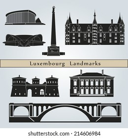 Luxembourg landmarks and monuments isolated on blue background in editable vector file