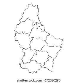 Luxembourg map of black contour curves of vector illustration