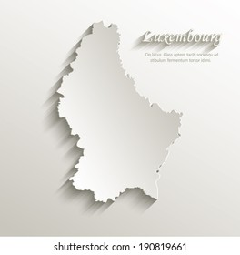 Luxembourg map card paper 3D natural vector